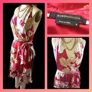 BCBG 100% SILK Floral Wrap Dress